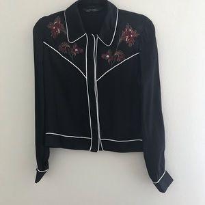 Zara Black Western Blouse w/ Floral Embroidery